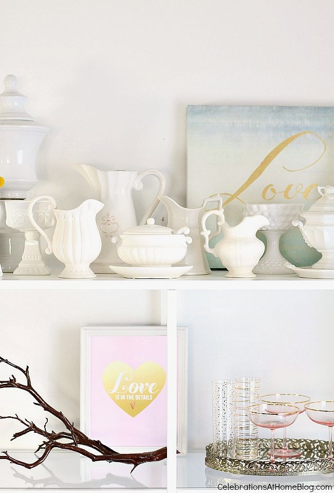 When decorating shelves display your collections in a single grouping, and place them at the top so they don't get bumped or broken.