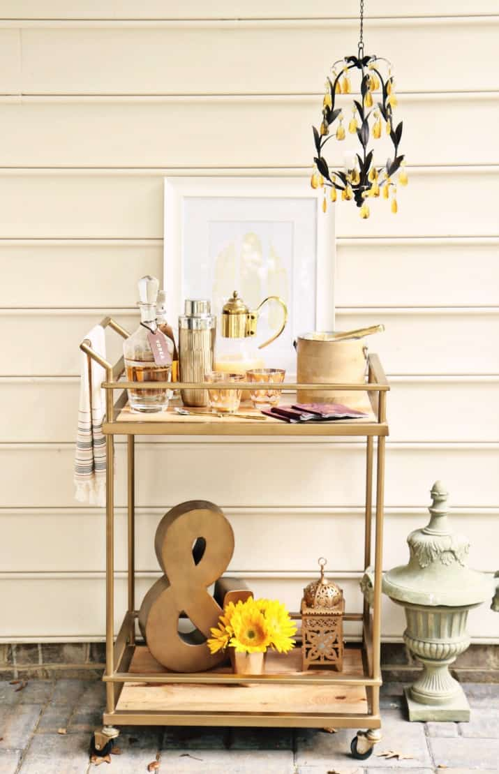 fall tabletop design, fall bar cart for entertaining