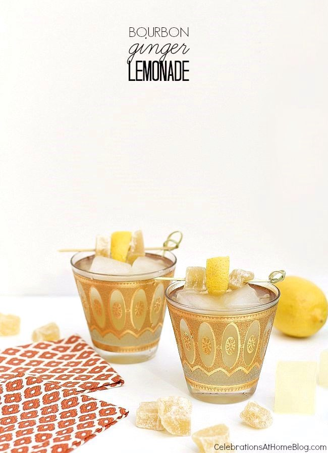 Bourbon ginger lemonade cocktail