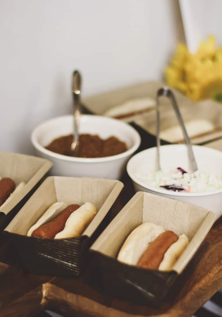 stress free football party hot dogs in paper holders