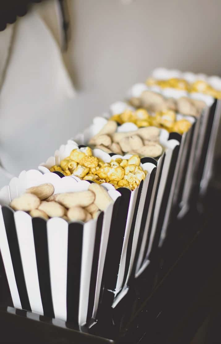 stress free football party popcorn and peanuts cups