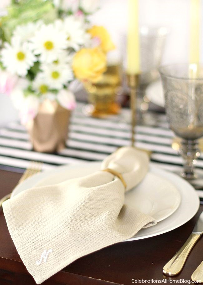 You can personalize your tabletop with just a few little details, like these diy monogrammed napkins.
