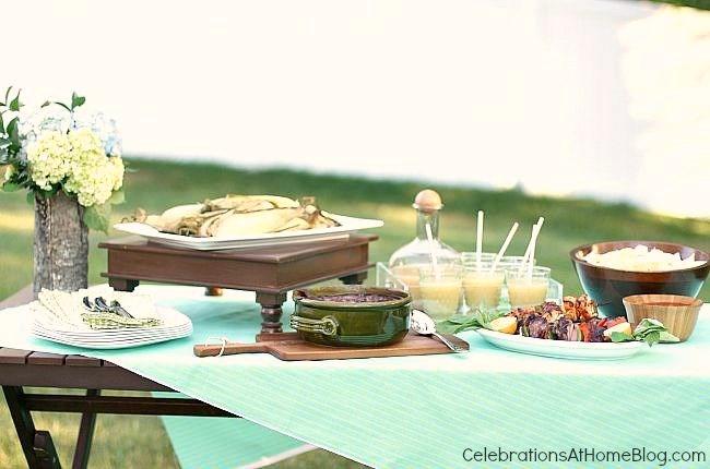 outdoor summer food buffet
