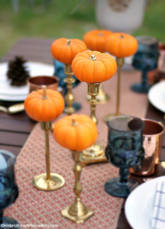 Friendsgiving Thanksgiving Celebration - party ideas, inspiration, and recipes. Mini pumpkin centerpiece