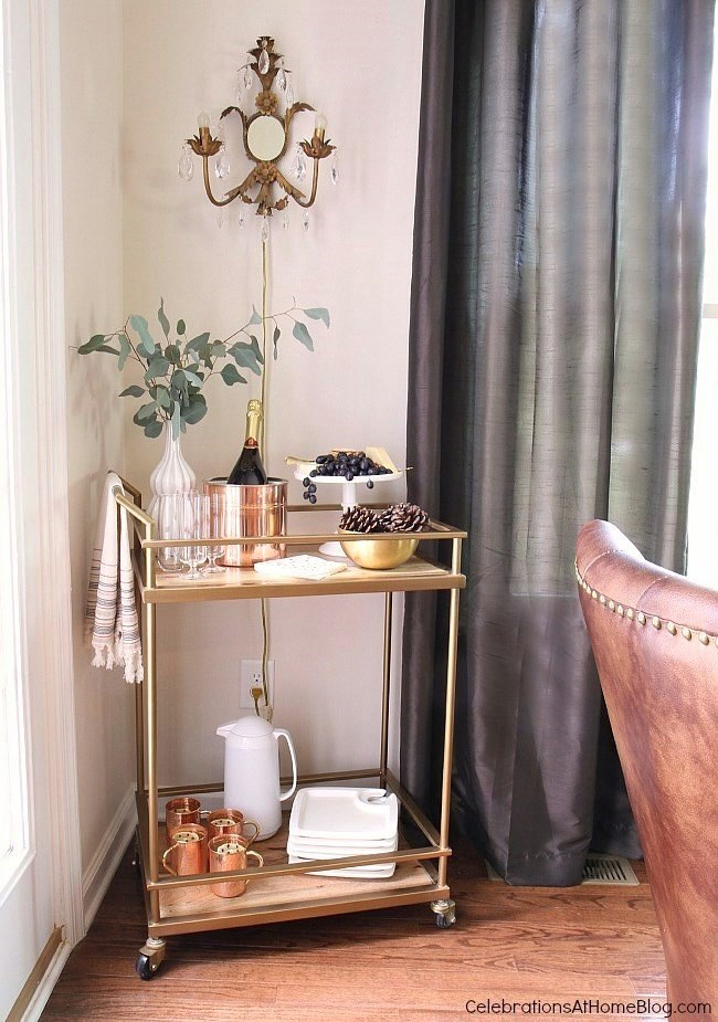 Check out my dining room update and holiday entertaining tips here. - Thanksgiving bar cart