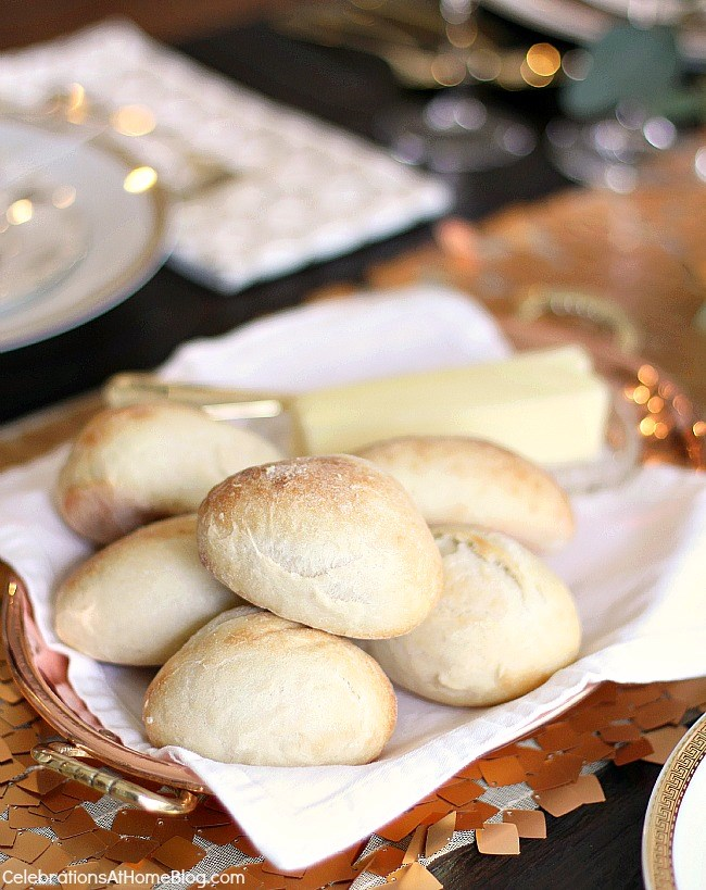 Check out my dining room update and holiday entertaining tips here. - tray of rolls