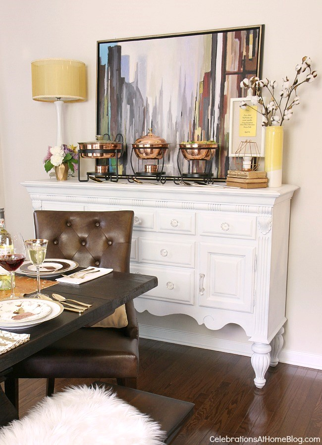 Check out my dining room update and holiday entertaining tips here. - holiday buffet