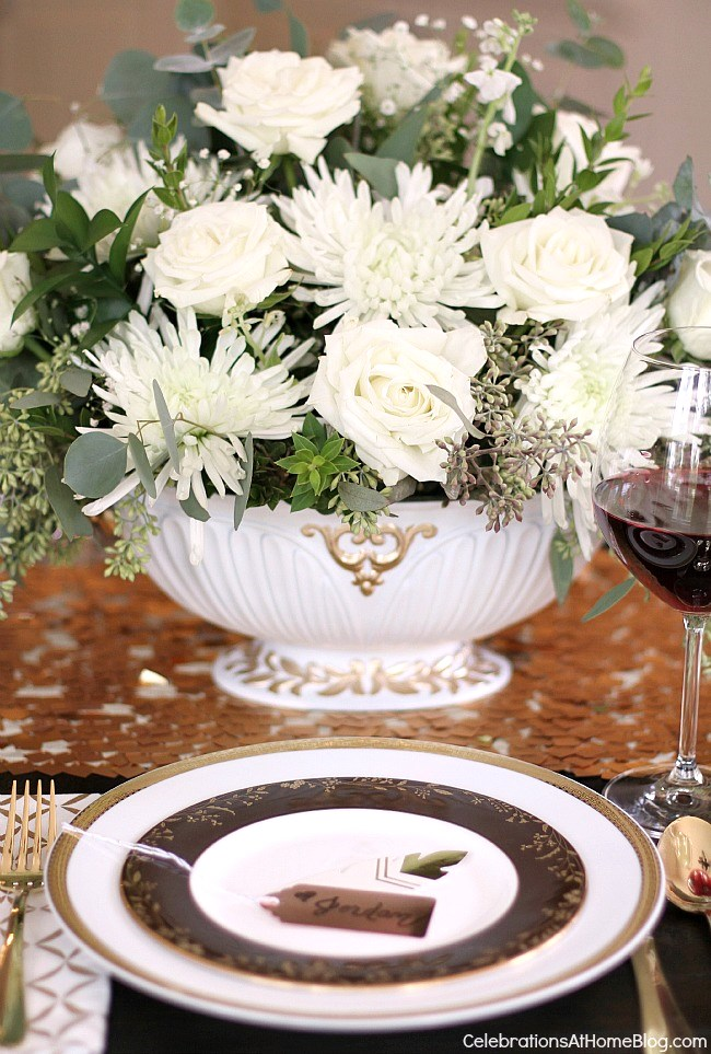 Entertaining at home - flower centerpiece