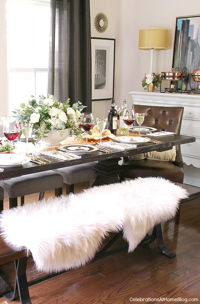 Check out my dining room update and holiday entertaining tips here. - more Thanksgiving ideas & Thanksgiving tablescape