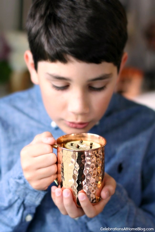 Check out my dining room update and holiday entertaining tips here. - copper cups