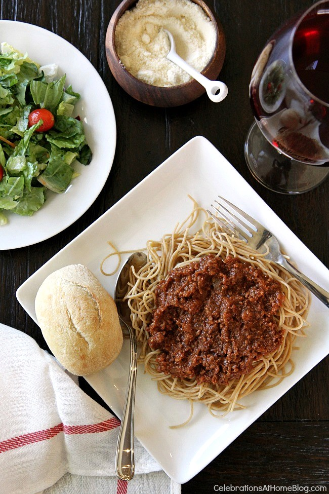 Slow cooker spaghetti sauce for a crowd is perfect for casual entertaining at home.