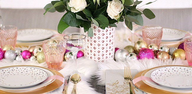 White & Pink Christmas Table Setting
