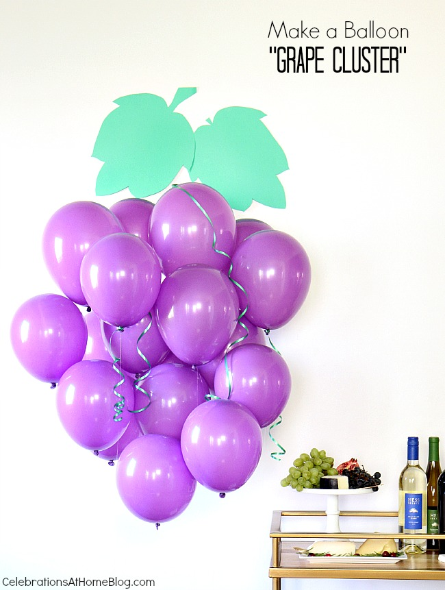 Make this fun and festive balloon 'grape cluster' for a wine tasting party.