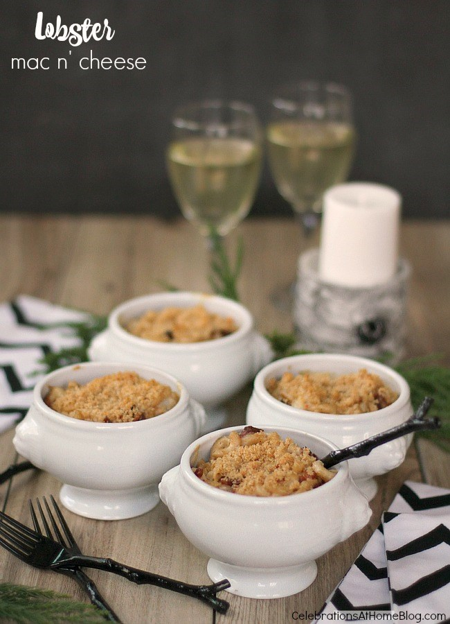 Lobster macaroni and cheese recipe for Christmas dinner.
