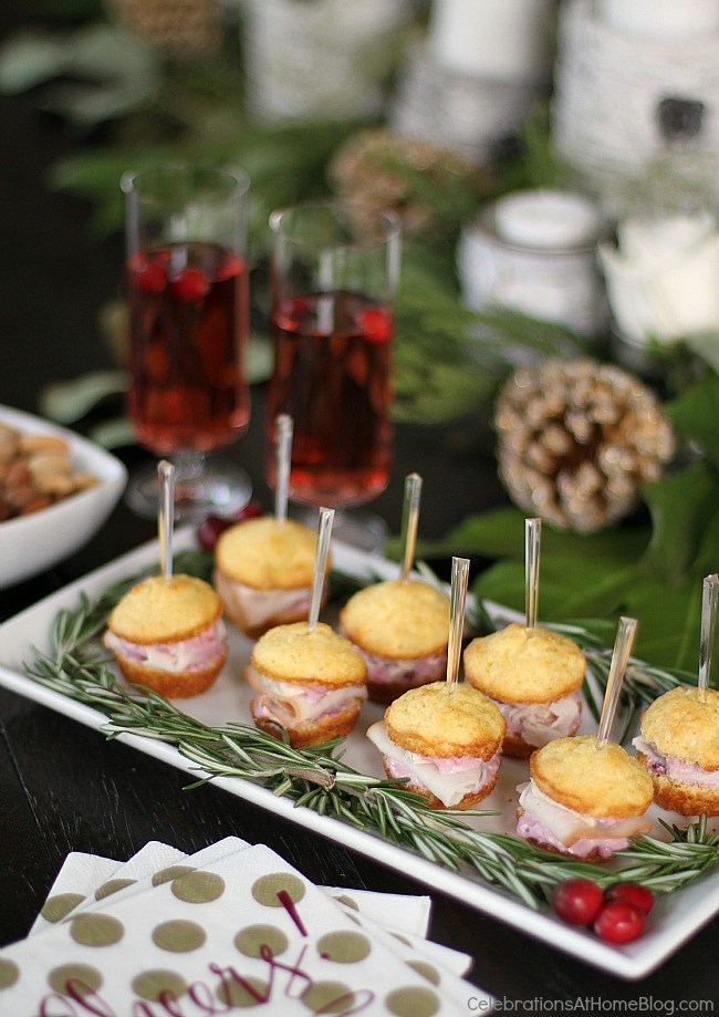 Party appetizers - Mini muffin appetizers turn into sandwiches with turkey, brie, and cranberry-cream cheese spread