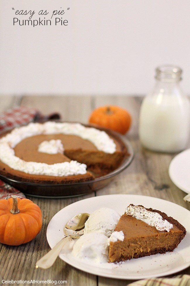 easy pumpkin pie recipe with slice on plate on table