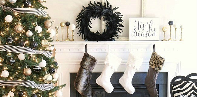 Our Christmas Decor this year – black & white & gold