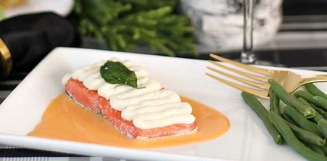 Salmon with Red Pepper Coulis Recipe