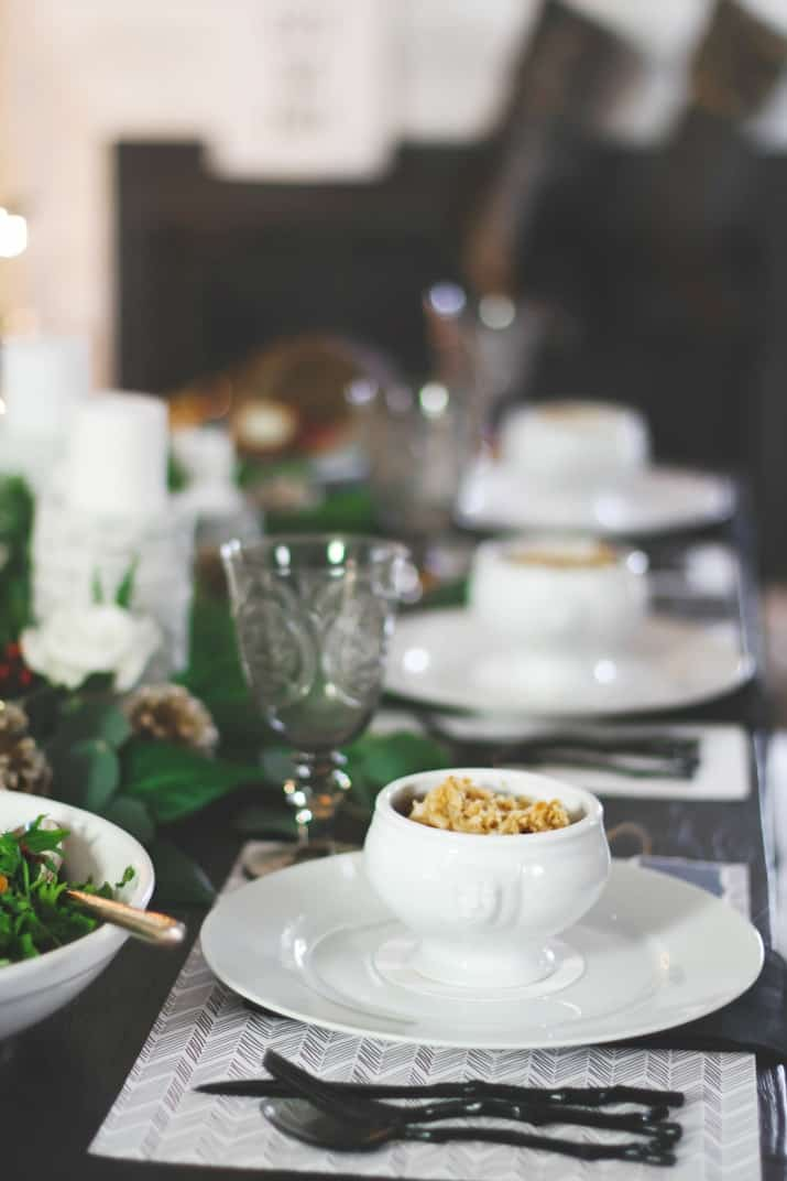bowls of macaroni and cheese on white plates, Christmas Dinner Party Tablescape & Menu Plan