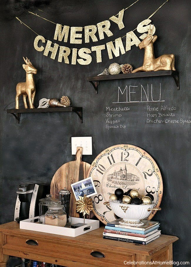 Christmas Decor - black and white and gold