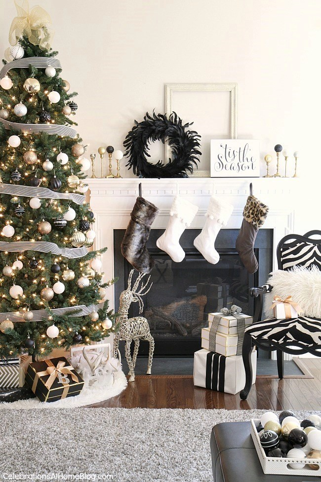 Our Christmas Decor This Year Black amp White Gold