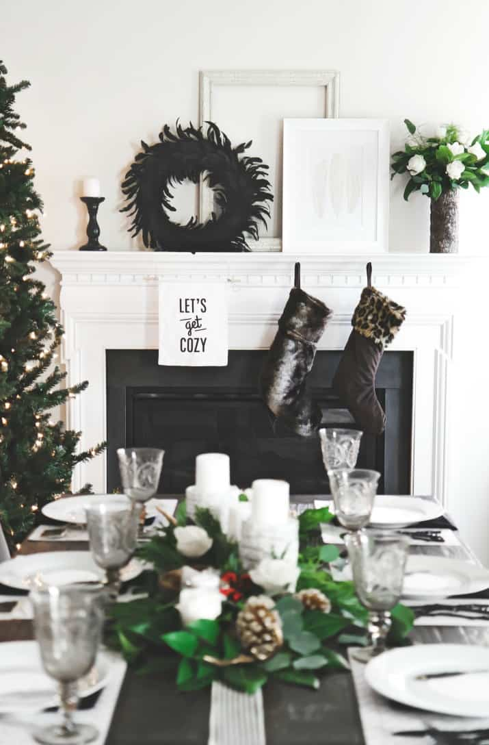table in front of fire place, Christmas Dinner Party Tablescape & Menu Plan