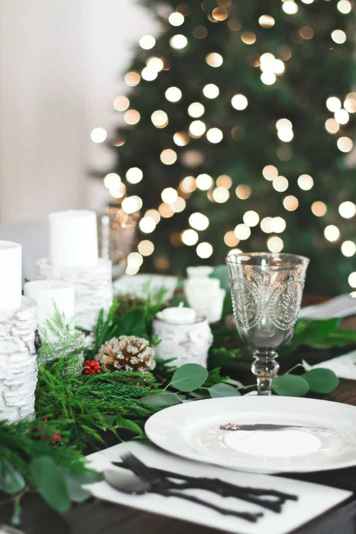 place setting for Christmas Dinner Party Tablescape & Menu Plan