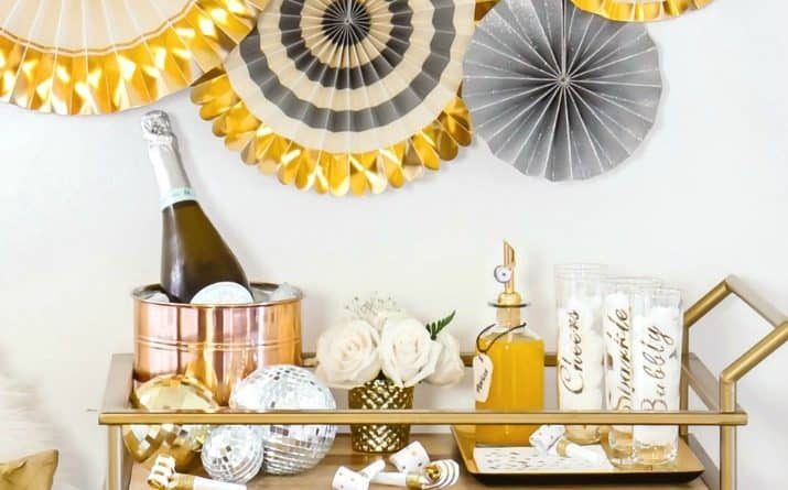 A Bar Cart Bubbly Bar for a Party