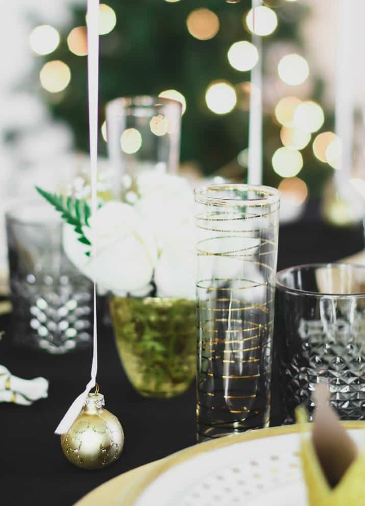 black and gold holiday tablescape details