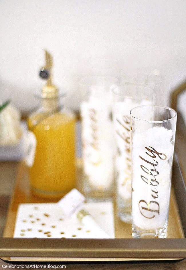 Bar cart bubbly bar with appetizer recipe and free printable sign. New Years Eve bar cart.