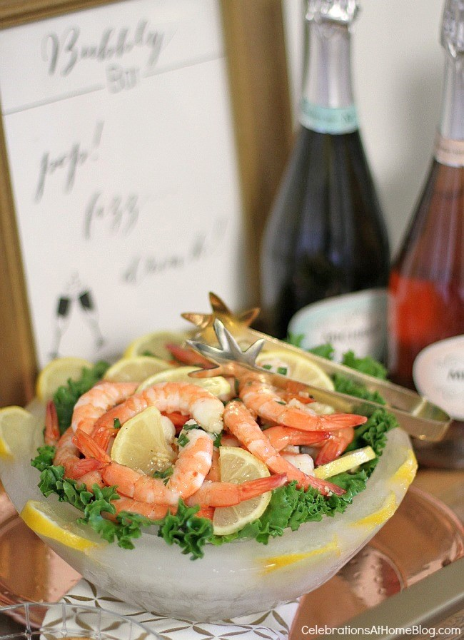 Bar cart bubbly bar - MARINATED SHRIMP appetizer recipe. New Years Eve bar cart.