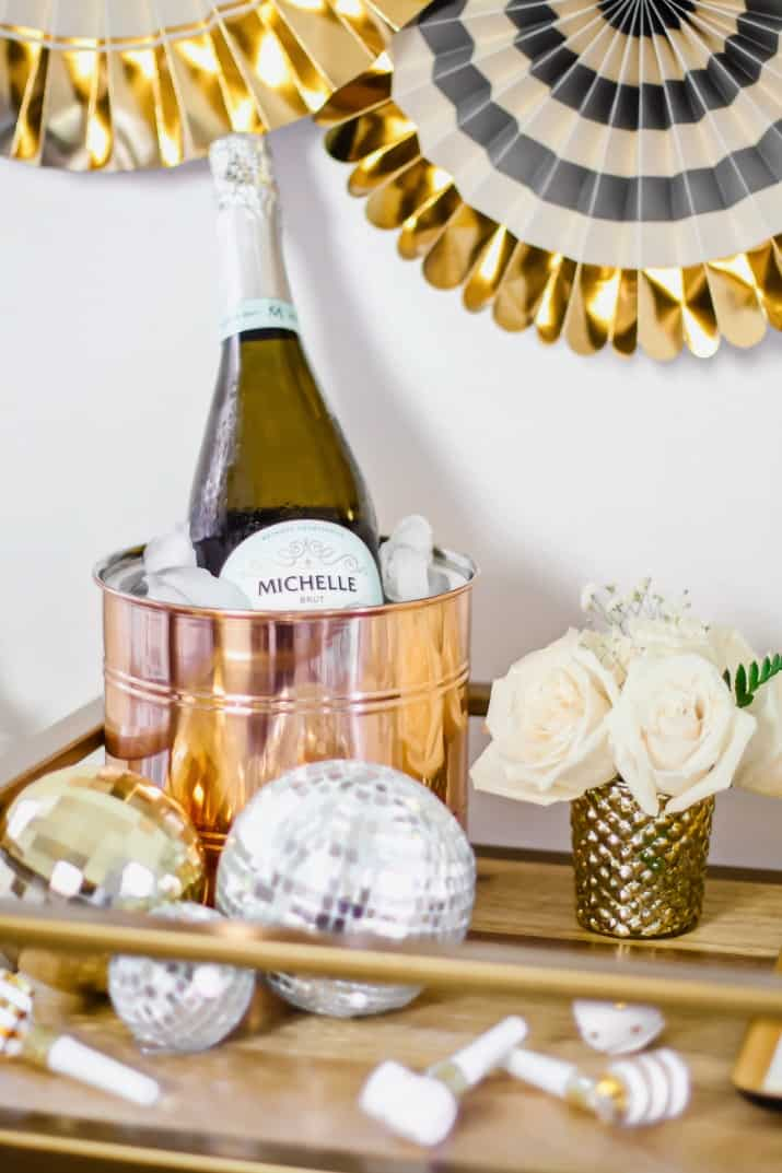 bar cart bubbly bar with copper champagne bucket