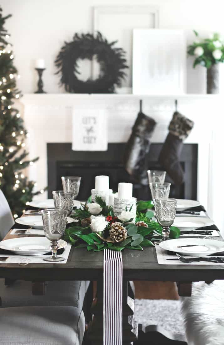 Christmas Dinner Party menu and table setting