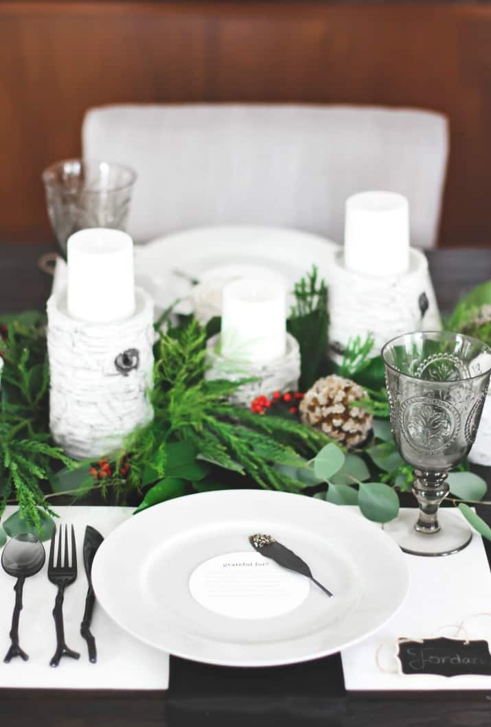 white place setting for Christmas Dinner Party Tablescape & Menu Plan