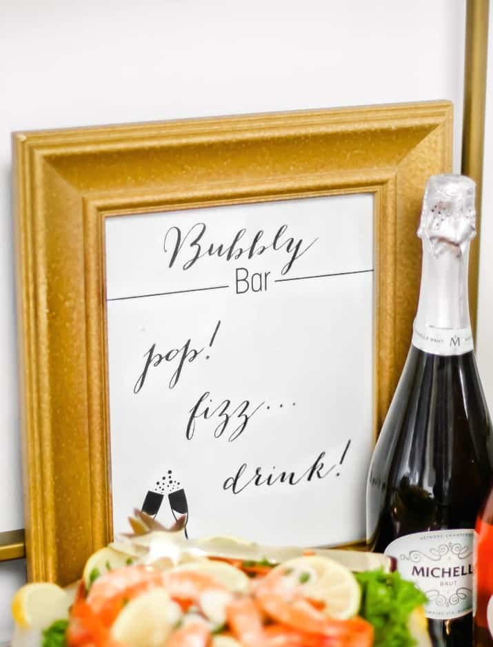 bar cart bubbly bar FREE printable sign