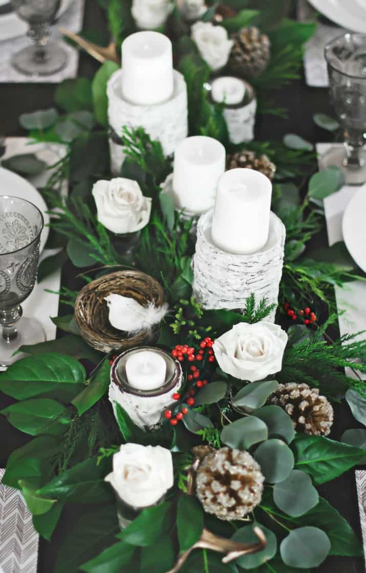greenery table runner for Christmas Dinner Party Tablescape & Menu Plan