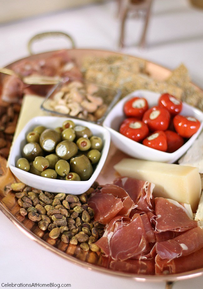 How to host an easy cocktail party. Charcuterie platter.
