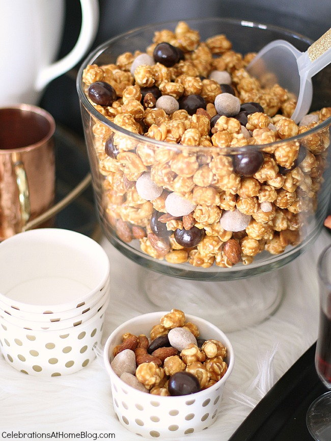 How to host an easy cocktail party. sweet popcorn mix