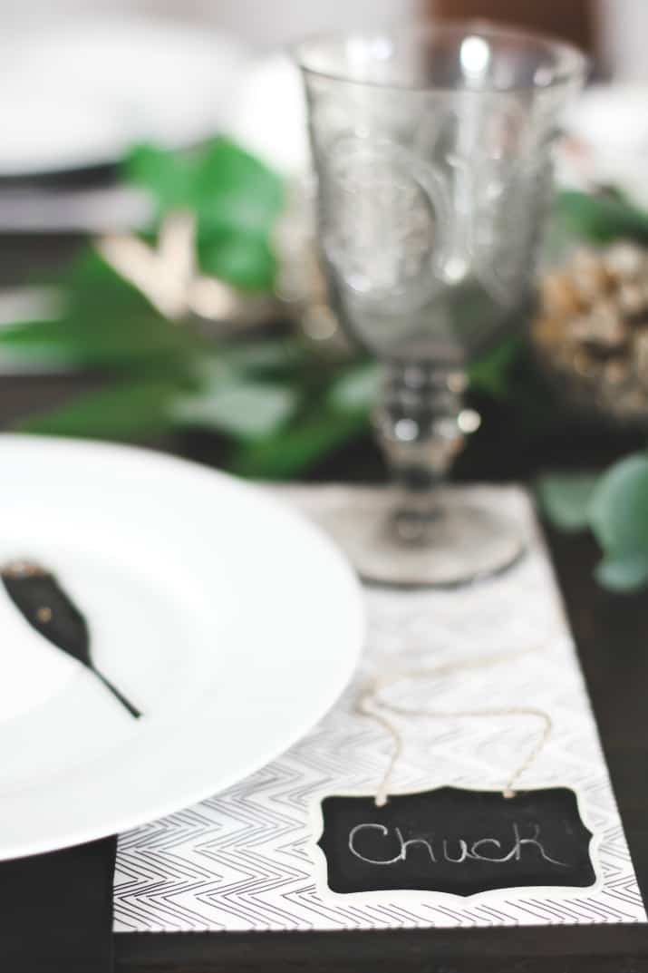 place card for Christmas Dinner Party Tablescape & Menu Plan