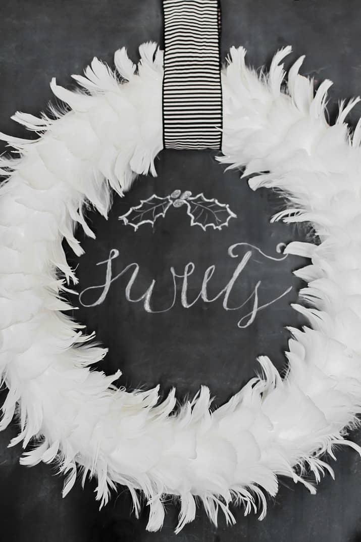 white feather wreath decor