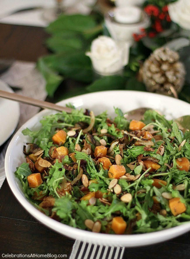Butternut Squash Baby Kale Salad Recipe - Celebrations at Home
