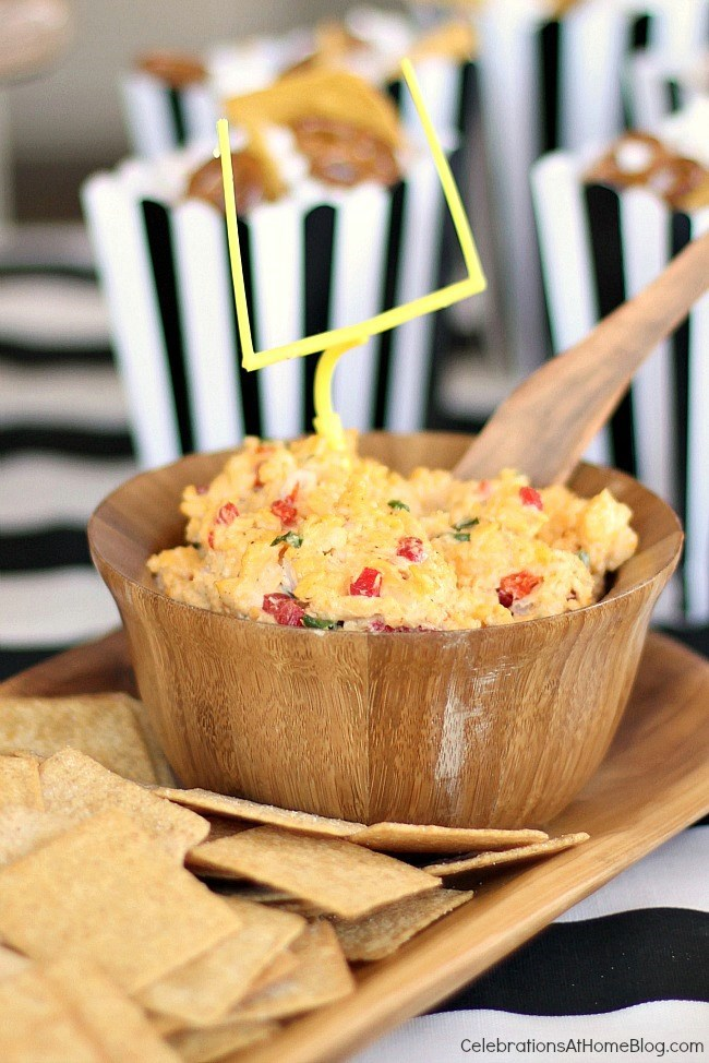 Pimento cheese spread recipe in wood bowl for football party theme