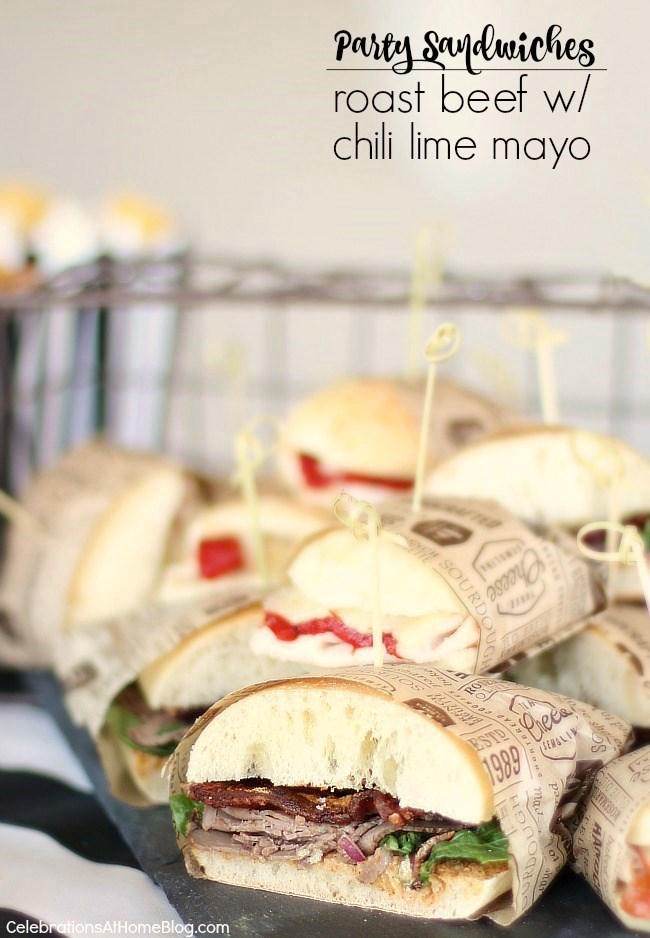 These roast beef party sandwiches with chili lime mayo are perfect for game day parties or a picnic lunch.
