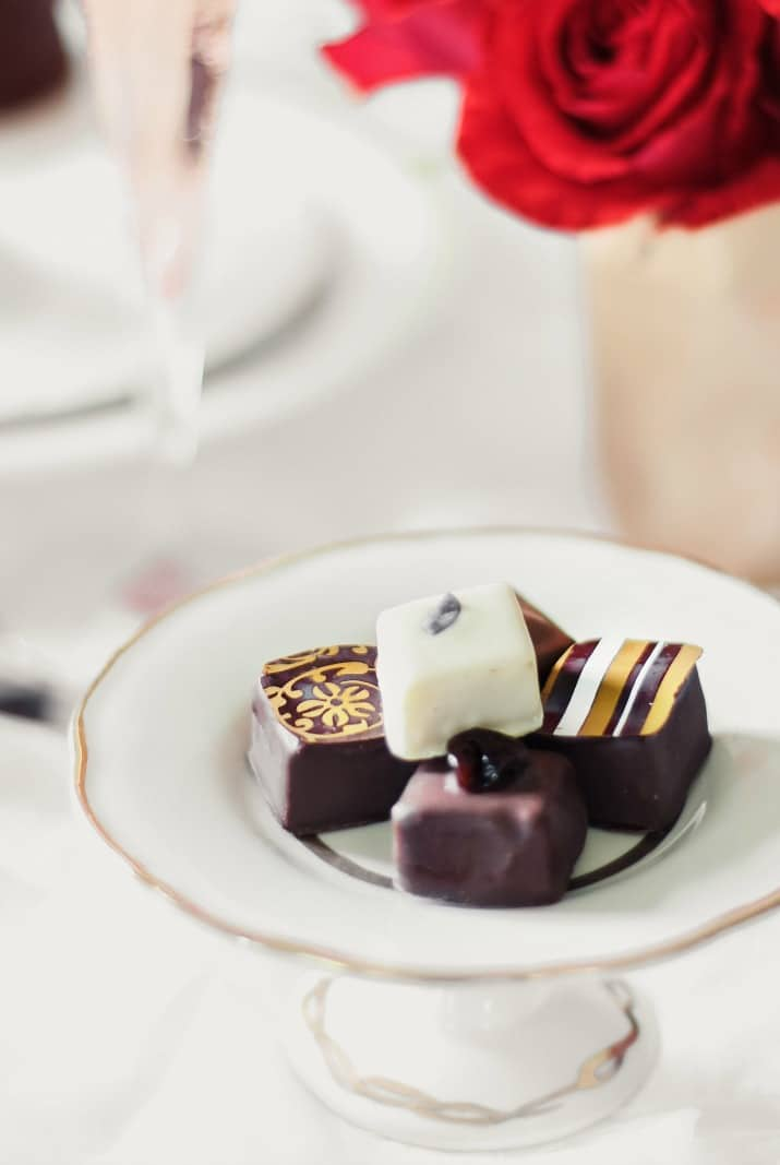 chocolates on small white plate