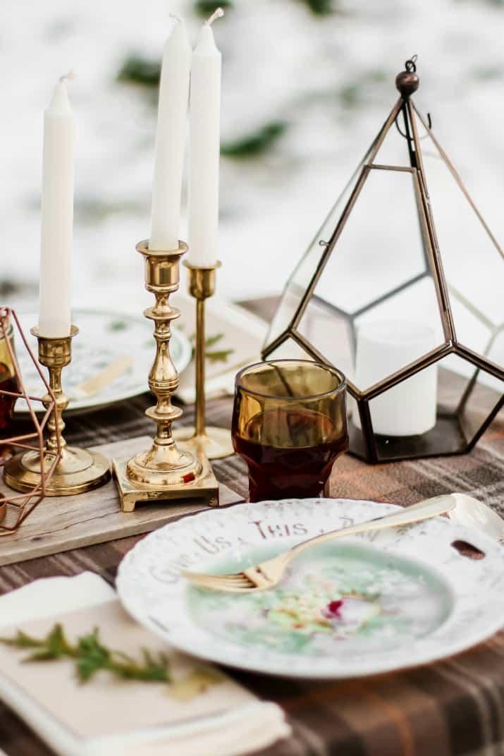 gold candlestick centerpiece