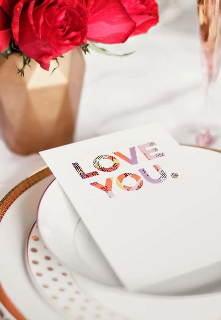 love card on place setting