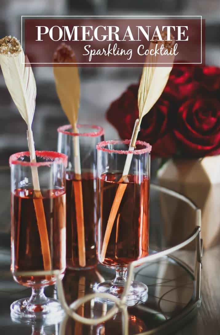 pomegranate sparkle cocktail, 3 glasses with text overlay
