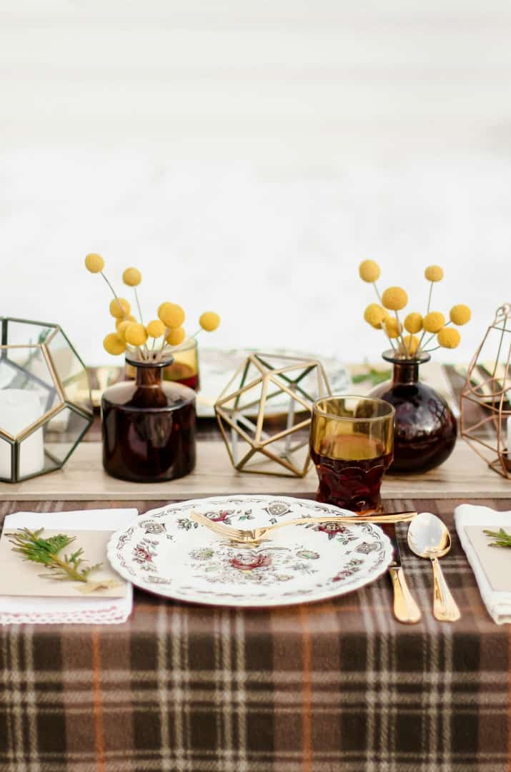 place setting with vintage dishes