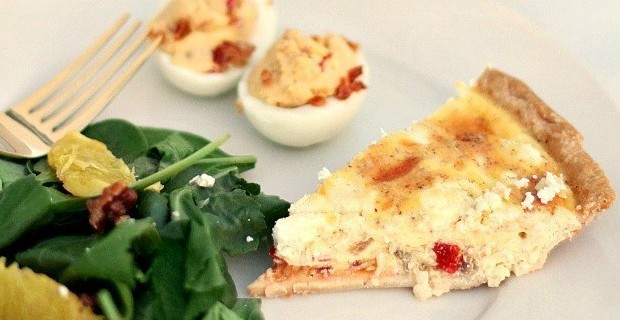 Goat Cheese & Roasted Red Pepper Quiche Recipe
