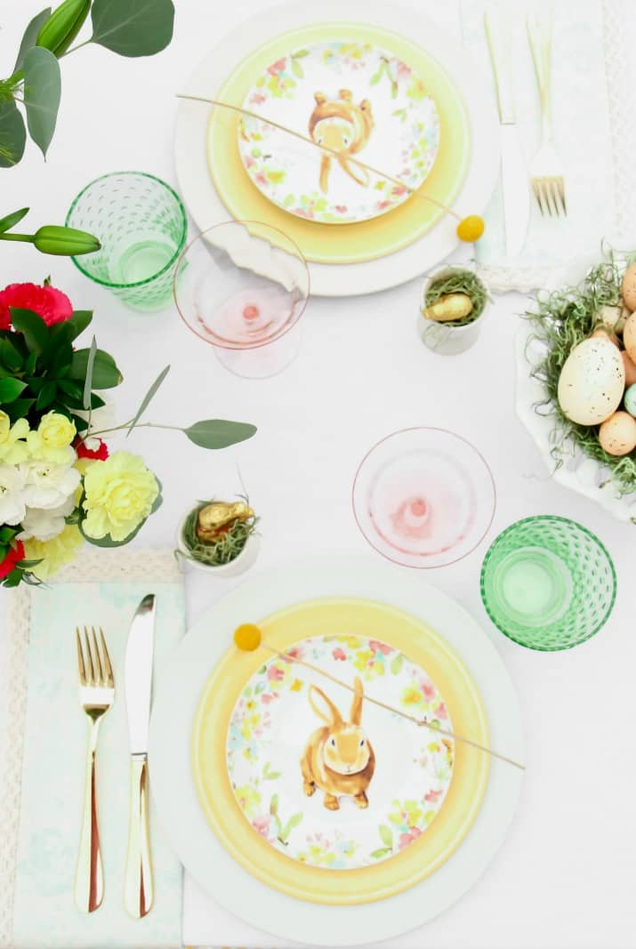 Easter Brunch table setting place settings overhead view